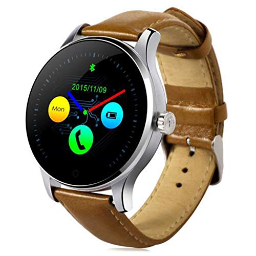 Smart Watch, Wasserdichte Uhr, Bluetooth Track Armbanduhr Pulsmesser Wahl Für Apple Iphone 7 IOS Android, Bildschirm Aufwachen, (Brown, Silber),Brown