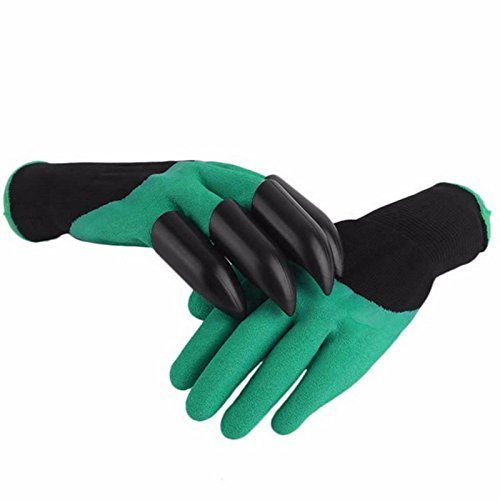 Glive's Garden genie gloves with built in claws for digging planting nursery plants, Garden gloves easy to dig and plant safe for rose pruning - 1 Pair