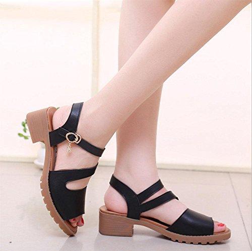 Stile parola sandali aperti delle donne scarpe antiscivolo fondo pesante scarpe casual selvatici Black