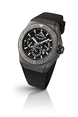 TW Steel CEO Diver Unisex Automatic Watch with Black Dial Chronograph Display and Black Silicone Strap CE5000