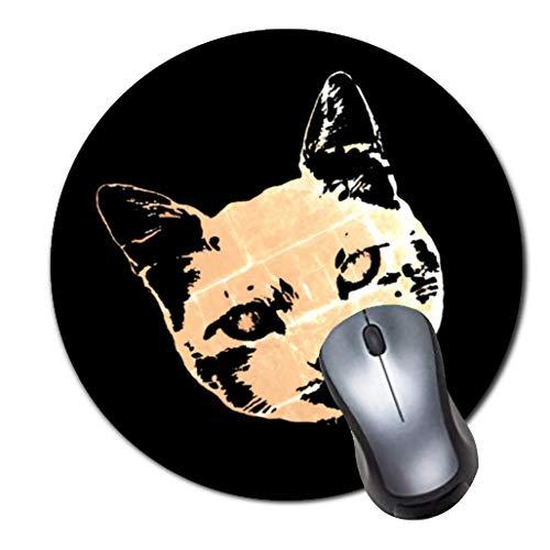 2er-Pack Dickes Gummi-Mauspad in Premium-Qualit?t Rundes Mauspad mit weichem Tragekomfort Gaming-Mauspad von ROOMBA-Daemon Katze Kunst Gesicht auf schwarz