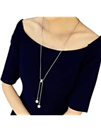 Hosaire Moda mujer zircon de cristal de perla largo cadena encantos suéter collar accesorios de la joyería