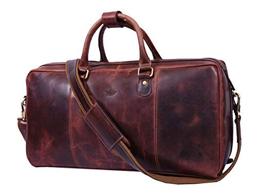 Leather Travel Duffle Bag | Gym Sports Bag Airplane Luggage Carry-On Bag (Walnut) (Carry On Travel Bag)