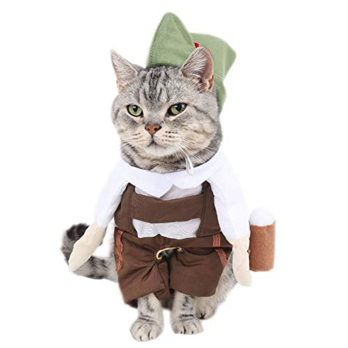 Bier Hunde Kostüm - LCWYP Haustier Halloween Barkeeper Bier Kellner Katze Kostüm Mit Hut Cosplay Anzug Für Haustiere Lustige Katze Kleidung Halloween Kostüm Chat S-XL
