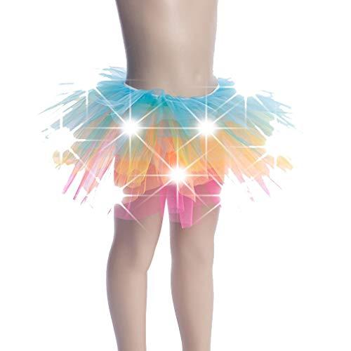 Plzlm Kinder Mädchen leuchten LED Tutu Neuheit Bühne Tanz-Rock-Minirock Tanzbekleidung Kinder-Partei-Kostüm