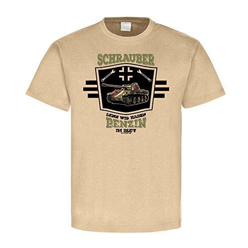 Copytec Schrauber Denn Wir Haben Benzin IM Blut Panzer Mechaniker Bastelfreak WH Militär Soldat Fahrzeug T-Shirt #24113, Farbe:Sand, Größe:Herren XL