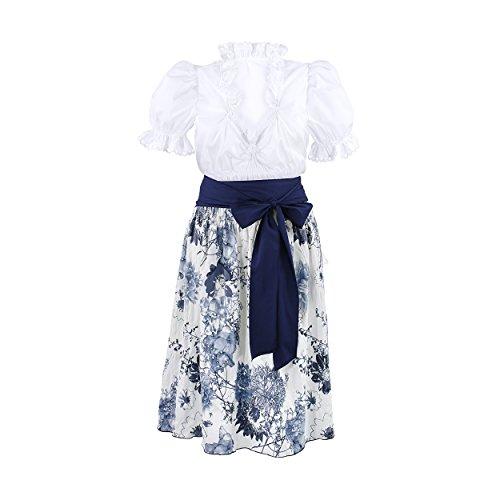 rndl-Komplett-Set Trachten-Dreiteiler Trachten-Bluse Trachten-Rock + Schleife.Elegant Sexy Trachtig Dies Trachten-Kleid ist Variable.Bluse Kurz-Arm Weiß +Rock Blau Blumen (44) (Traditionelle Kostüme Aus Deutschland)
