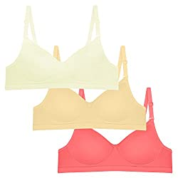 Tweens womens Sleek Look Off-White Beige Coral Padded T-Shirt Bra Pack of 3-30B