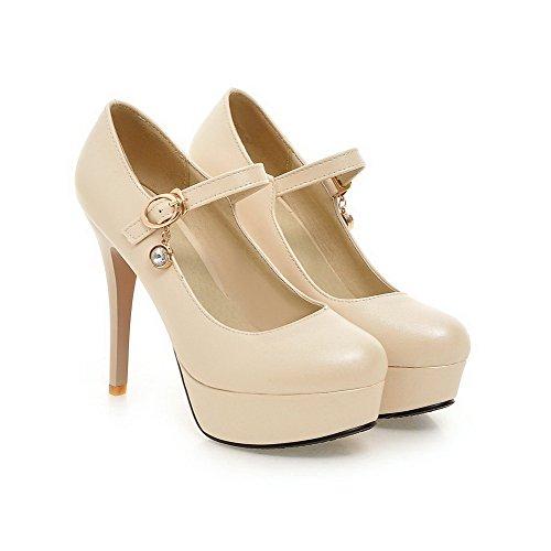 Senhoras De Alto Couro Pu Voguezone009 Fivela Bombas Salto Sapatos Puramente Creme De BwRqxfO6