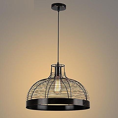 BJVB Industrial hierro aves jaula colgante Lámpara Edison luz dormitorio dormitorio salón iluminación luces de techo de sombra