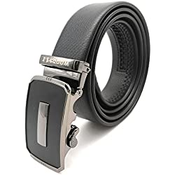 PU Leather Adjustable Automatic Designer Buckle Belts Fashion Waist Strap BELTS For Casual and Formal - Belt For Men and Boys, color Design For Daily Use(BLACK)