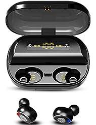 Kabelloses Bluetooth 5.0-Headset, In-Ear-Kopfhörer mit Surround-Bass-Stereo-Rauschunterdrückung und Display-Ladebox - Kann als mobiler Strom- / Telefonhalter verwendet werden (Schwarz)