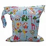 Doyime Baby Kleinkind Wasserdichtem Reißverschluss wiederverwendbare Stoff Windel Tasche w/bunte Eulen Muster Hellblau
