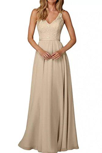 La_Marie Braut Edel Spitze Chiffon Champagner Brautjungfernkleider Abendkleider Partykleider Lang A-Linie Rock -36 Beige