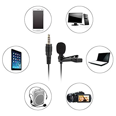 Eboxer Mini Lavalier Clip-on Mic Portable Hand-free Condenser Microphone with Audio Cable,3.5mm Jack for Teaching, Meetings, Presentations, Running a Show