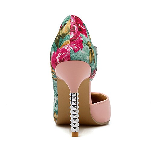 VogueZone009 Damen Gemischte Farbe Hoher Absatz Spitz Zehe Schnalle Pumps Schuhe Pink