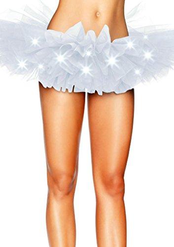 FreestyleMo Damen Ballett Tutu Unterrock Petticoat mit LED Licht Tüll Party Tanz Rock (Einheitsgröße, Weiß)