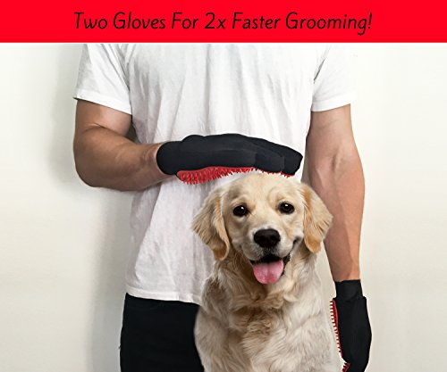 Moggiez & Doggiez PET GROOMING GLOVE/DESHEDDING BRUSH – Pack of Two Gloves –Effective Cat and Dog Hair Remover… 8