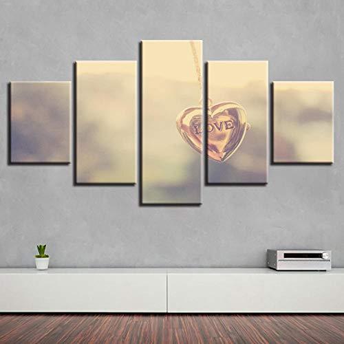 WODES Modular Art Bild 5 Stücke Herzförmige Halskette Anhänger Und Buchstaben Liebe Leinwand Malerei Wohnzimmer Wanddekoration Moderne Drucke Kein Rahmen 30 * 40 * 230 * 60 * 230 * 80Cm -