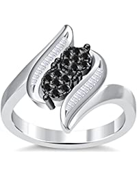 Silvernshine 3.5Ct Round Cut Sim Black Diamonds 14K White Gold Plated Engagement & Wedding Ring