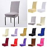 4pcs Housse de Chaise de Salle à Manger Couverture Couleur Unie Polyester Spandex Gris Clair