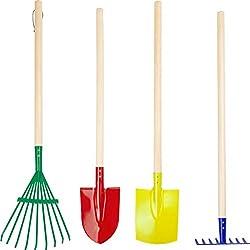 """10838 Set d'outils de jardin """"Multicolore"""" en bois et métal, râteaux, pelle et bêche, à partir de 3 ans"""