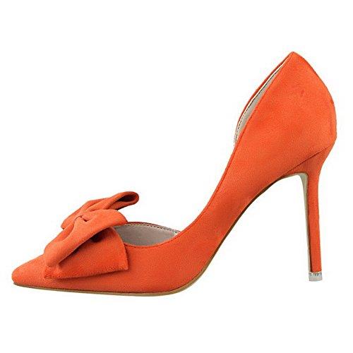 AalarDom Damen Spitz Zehe Ziehen Auf Stiletto Rein Pumps Schuhe mit Schleife Orange-Schleife V087WCB8uC