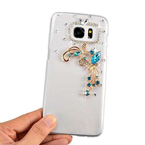 iPhone 7 / iPhone 8 Coque Strass Diamant Bling Luxe Sunroyal Coque pour iPhone 8,Rhinestone Housse Ultra Slim Cristal Brillant Téléphone Case avec 360 Degrés Rotation Bague Glitter Anneau Stand Holder Diamant Fleurs