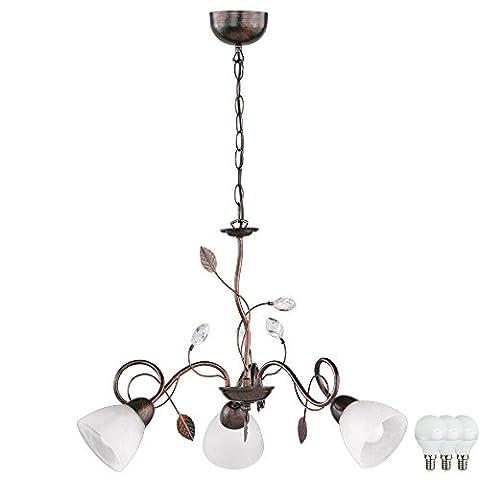 Landhaus Stil Hänge Leuchte Glas Decken Lampe rostfarbig antik im Set inklusive LED Leuchtmittel