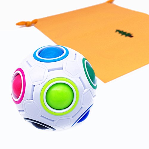 Ball Magic Cube,Magic Ball Puzzle,Original Color Rainbow Magic Ball 3D Puzzle Intelligence Educational Toys,Magic Cube Puzzle Stress Reducer Finger Fidget Toy Great Gift For Children Kids