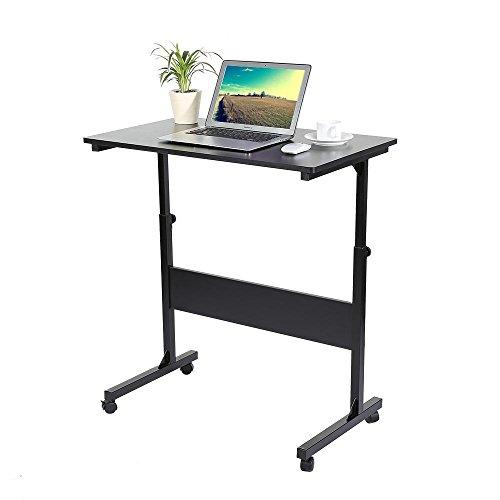 Computer desk laptop tavolo vassoio,tavolino per computer portatile/notebook,ufficio computer scaffale ripiani mobile workstation,regolabile,4 rotelle freno (nero)