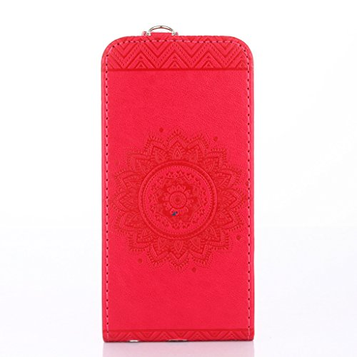 Cover iphone 6 plus/6s plus Hülle,Fodlon® Totem Geprägt Up-Down öffnen PU-Leder Flip Stand mit Schwarz Lanyard Hülle Abdeckung zum iphone 6 plus / 6s plus-Light Purple Rose rot