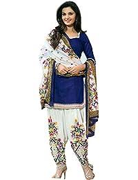 Salwar Villa Women's Blue Faux Cotton Unstiched Dress Material