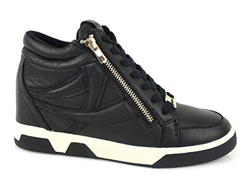 HYPNOSI Sky sneakers Zeppa interna 8 PELLE TESSUTO BLACK NERO 40