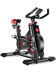Dripex Upright Exercise Bikes (Indoor Studio Cycles) - Studio Quality with Heart Rate Monitor, Large Bidirectional Flywheel, Belt Drive, Infinite Resistance, LCD Displays, Hand Pulse【2019 Mode】