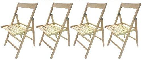 3 EMME SAS 4 sedie pieghevole sedia birreria in legno naturale richiudibile per campeggio casa
