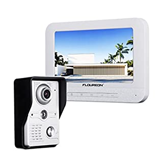 FLOUREON Video Doorbell Interphone Security Intercom System with 7 inch Colour TFT LCD Monitor and IR LED Night Vision Camera for Private Houses, Villas, Offices, Hotels