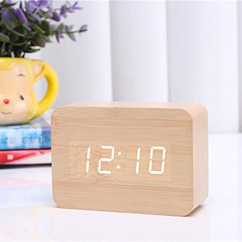 Queta LED Digital Wecker Klein Standuhr mit Datum Temperatur Anzeige, 3 Einstellbare Helligkeit, Sprachsteuerung, 2 Modi Display (Bambus)