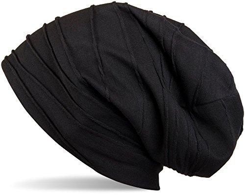 styleBREAKER klassische Beanie Mütze mit Falten Muster, Longbeanie, Unisex 04024053, Farbe:Schwarz (One Size) (Beanie Long)