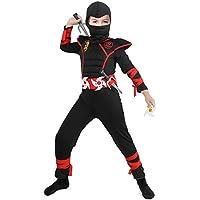 Tacobear Disfraz de Power Ninja para Niño Disfraz Infantil de Halloween Negro y Rojo 3-12 años (M)(5-7 años)