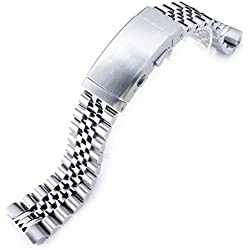 22mm Jubilee 316L SS Watch Bracelet for Seiko New Turtles SRP777, Ratchet Buckle Brushed