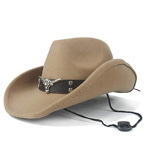 XY-women's hat Elegant Winter Cowboyhut Wolle Cowboyhut Western Gentleman Jazz Reiter Dad Queen Tauren Punk (Größe: 56-59cm) Stilvoll (Farbe : Khaki, Größe : 56-59cm)