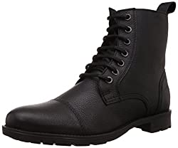 Franco Leone Mens Black Leather Boots - 10 UK/India (44 EU)