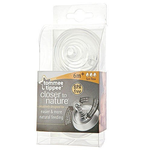 1X Tommee Tippee Closer To Nature Flujo Rápido Tetinas (2-pack)