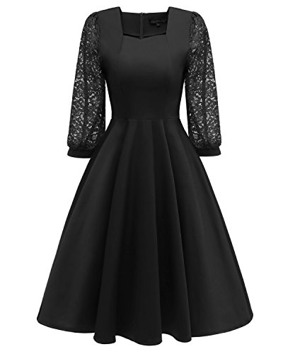 Viloree Retro Rockabilly Damen Kleider 3/4 Ärmel Festlich Swing Cocktail Knielang Black 2XL