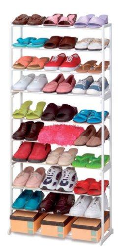 Estantería para almacenamiento de zapatos, 30pares, 10niveles, plegable, apilable, zapatero, soporte...