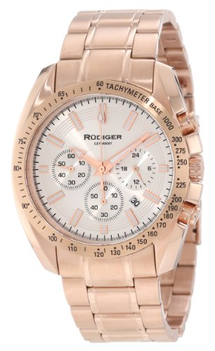 Rudiger Men's R1000-09-001 Dresden Rose Gold IP Silver Luminous Dial Chronograph Tachymeter Watch