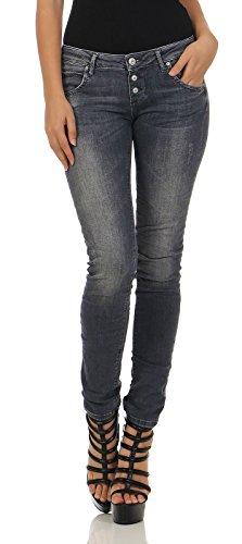 M.O.D Damen Jeans Ulla Slim NOS-2020 Hüft Hose Low Waist Slim Leg MOD Mallorca Grey W29/L30