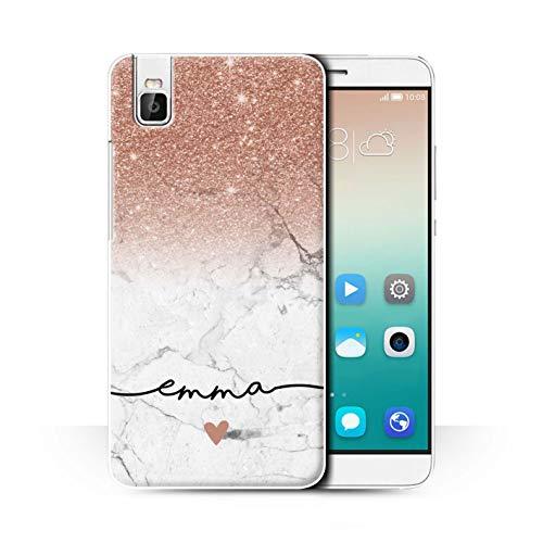 eSwish Personalisiert Individuell Handschrift Glitter Ombre Hülle für Huawei Honor 7i/ShotX/Roségold FunkeIn Weißer Marmor Design/Initiale/Name/Text Schutzhülle/Case/Etui