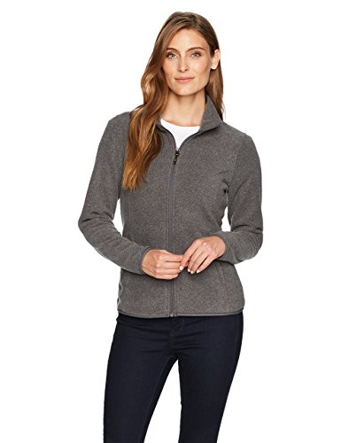 Amazon essentials Damen Fleece-Jacke mit Reißverschluss,Grau (grey charcoal heather), Large